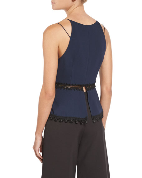 Lace-Up Crepe Peplum Top, Navy Combo