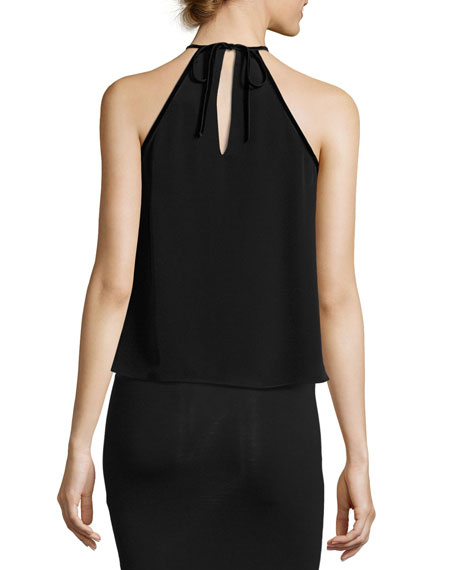 Tulla Sleeveless Silk Tie-Neck Top, Black