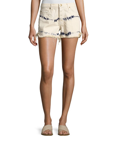 The Cut Off Slouchy Tie-Dye Denim Shorts, White