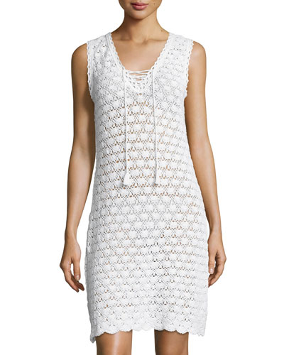 Sleeveless Crochet Lace-Up Dress, White