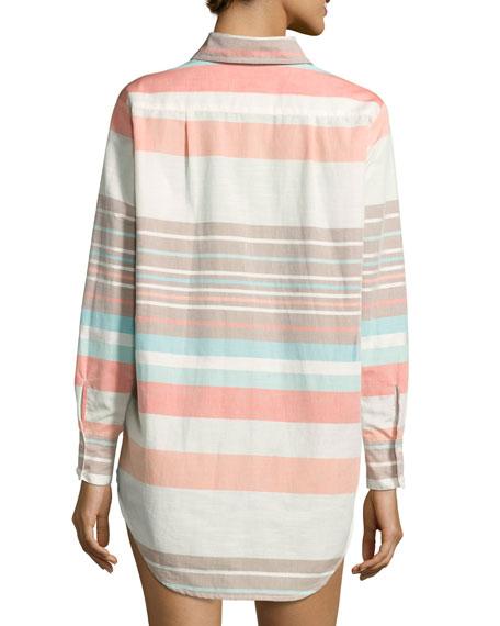 Stripe Button-Down Beach Shirt, Multicolor