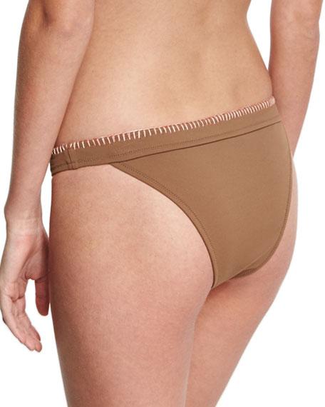 Whipstitch Solid Swim Bottom, Brown