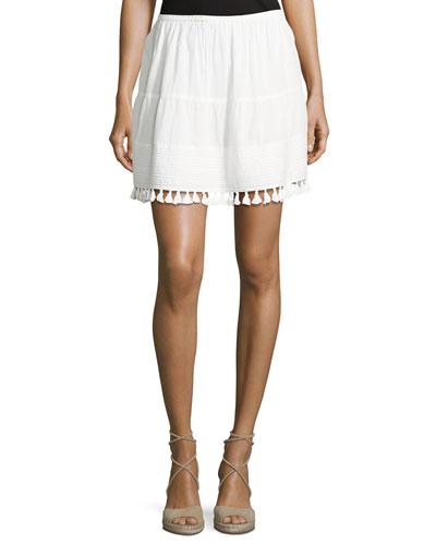 The Park Tassel-Trim Skirt, White