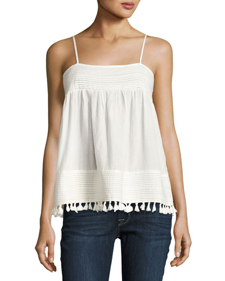 The Park Pleated-Trim Tank, White