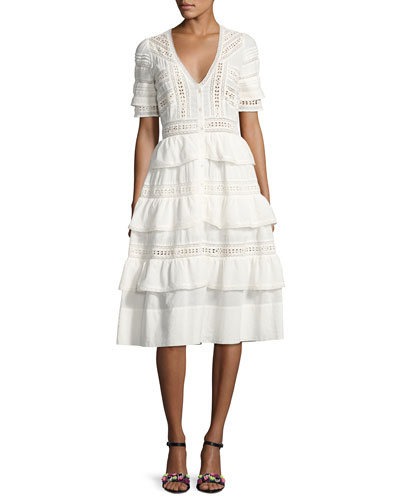 Rebecca Embroidered Cotton Midi Dress. White