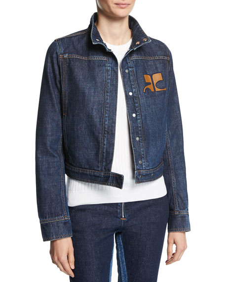 Short Logo Denim Jacket, Blue