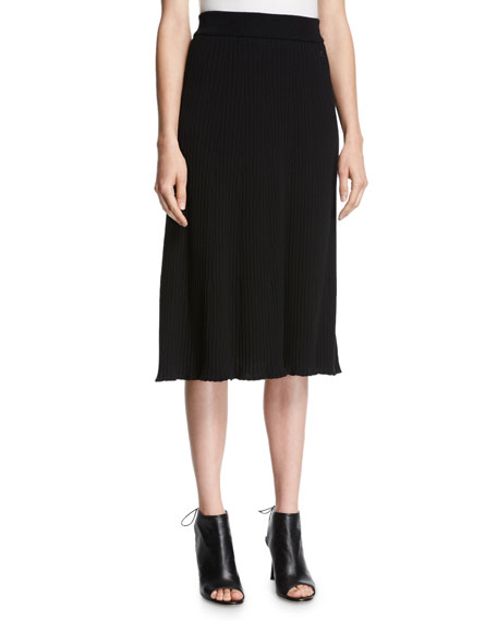 Ribbed-Knit Midi Skirt, Black