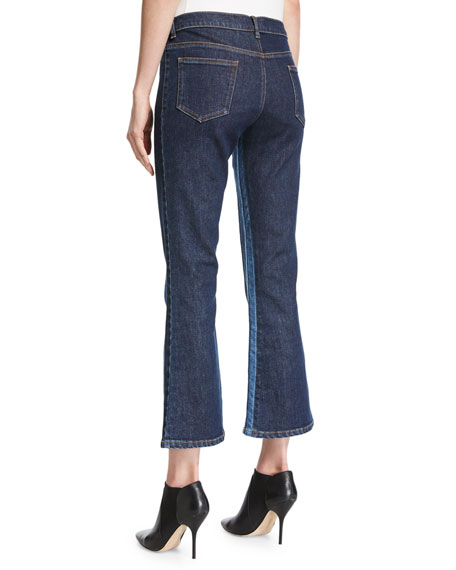 Cropped Flare-Leg Denim Pants, Blue