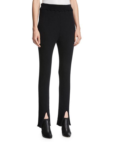 Classic Ribbed-Knit Pants, Black