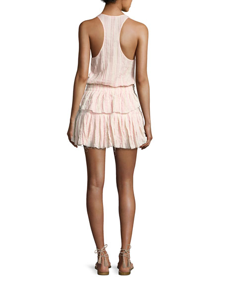 Textured Ruffle Racerback Mini Dress, Pink