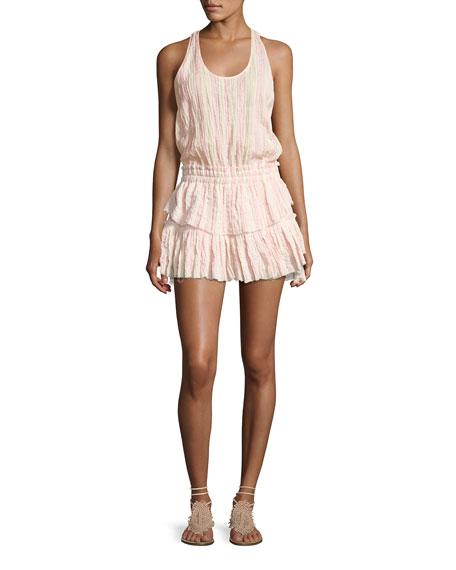 Loveshackfancy Textured Ruffle Racerback Mini Dress, Pink