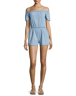 Clark Off-the-Shoulder Cotton Romper, Blue