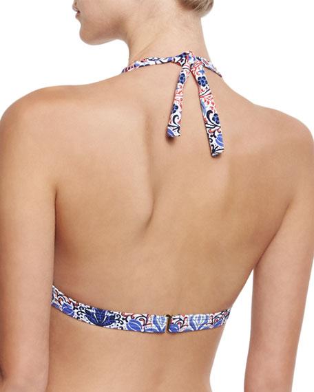 Embellished Halter Swim Top, Multiprint