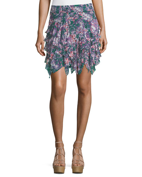 Jocky Ruffled Printed Cotton Mini Skirt