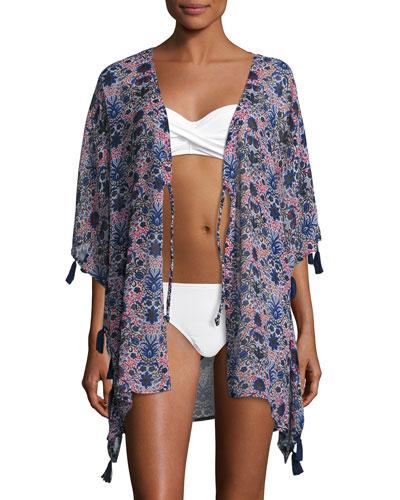 Printed Kimono Coverup W/ Tassels, Multicolor