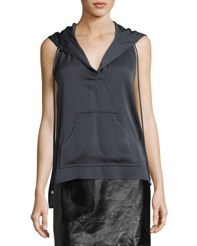 Sleeveless Stretch-Silk Hoodie, Graphite