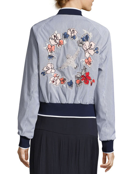 Striped Bomber Jacket w/ Embroidered Back, Baby Blue Multi
