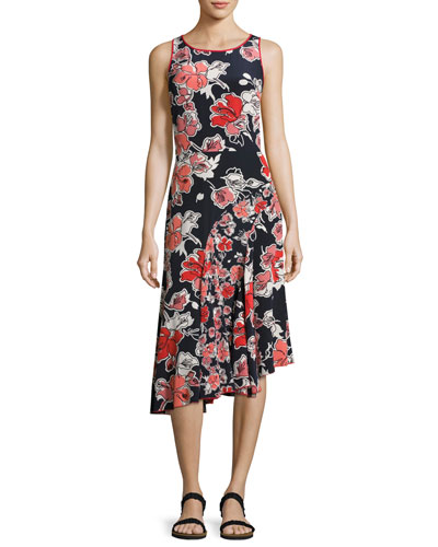 Sleeveless Floral-Print Asymmetric Dress, Midnight Multi