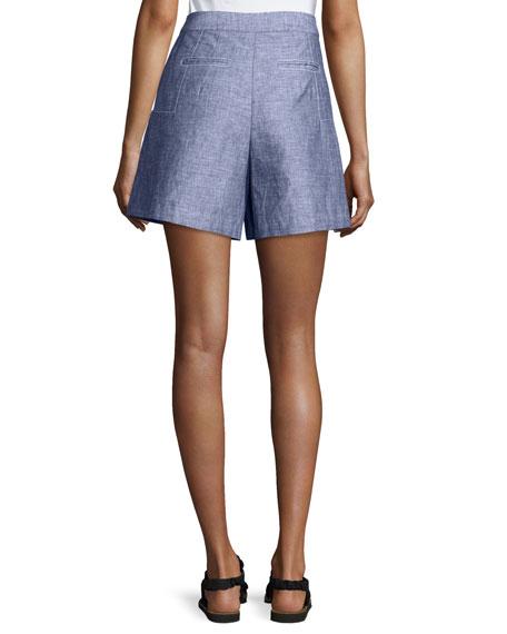 High-Waist Double-Face Chambray Shorts, Light Indigo