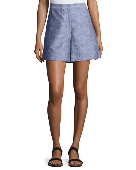GREY by Jason Wu High-Waist Double-Face Chambray Shorts,