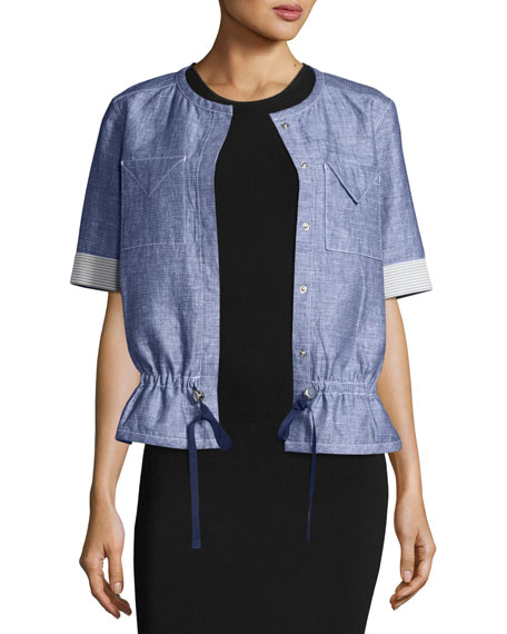 Short-Sleeve Chambray Jacket, Light Indigo