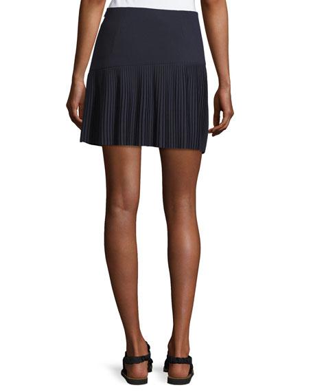 Miniskirt w/ Asymmetric Pleated Hem, Midnight