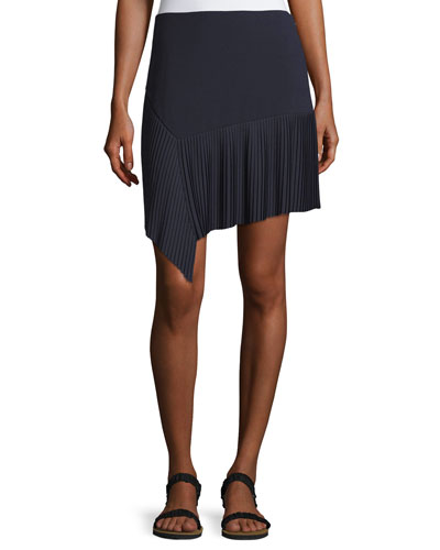 Miniskirt w/ Asymmetric Pleated Hem, Midnight