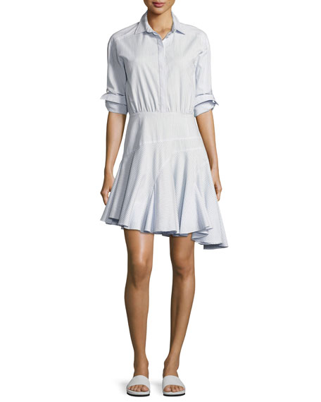 9b4455a99d6 Jason Wu GREY Long-Sleeve Asymmetric Striped Cotton Shirtdress