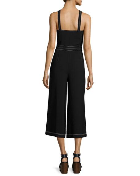 Halter-Neck Cropped Wide-Leg Jumpsuit, Black