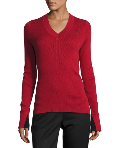 Lightweight V-Neck Sweater, Red/Black