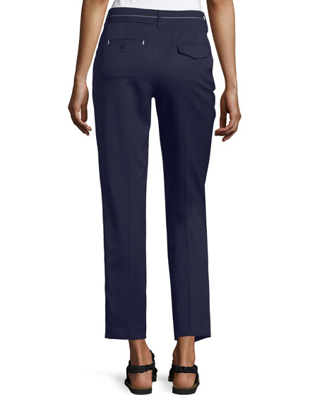Topstitched Cigarette Ankle Pants, Navy