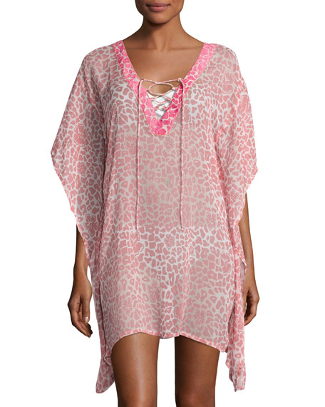 Leopard Lily Sheer Coverup Tunic, Pink