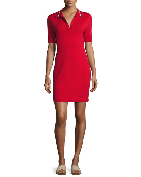 Short-Sleeve Polo Shirtdress, Hibiscus Red