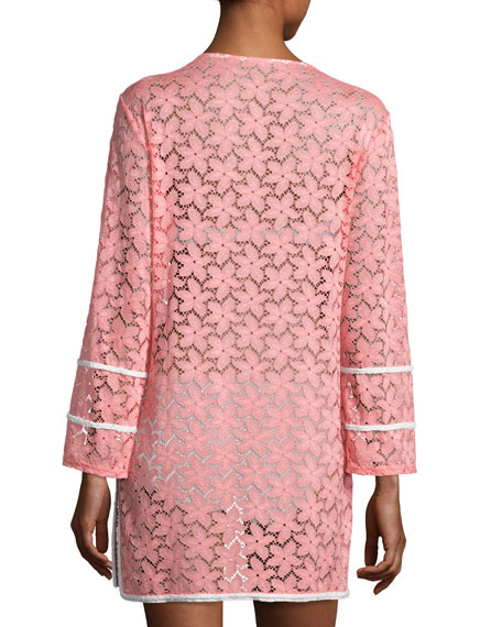 Floral Lace Tunic Coverup, Pink