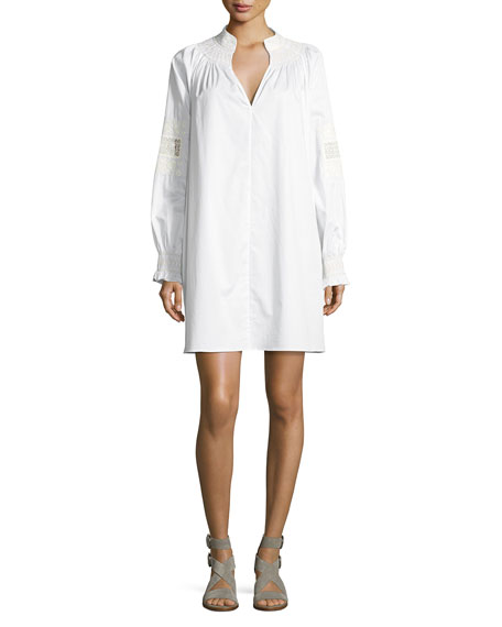 Tibi Cora Embroidered Short Cotton Dress, White