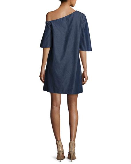 Dark Denim One-Shoulder Dress, Dark Blue