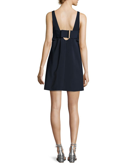 Faille Sleeveless Short Dress, Navy