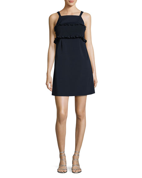 Tibi Faille Sleeveless Short Dress, Navy