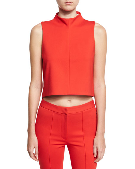 Tailored Ponte Sleeveless Top, Red