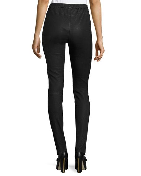 Leather Legging Pants, Black