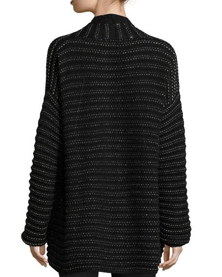 Airy Open-Stitch Cashmere Cardigan, Black Pattern