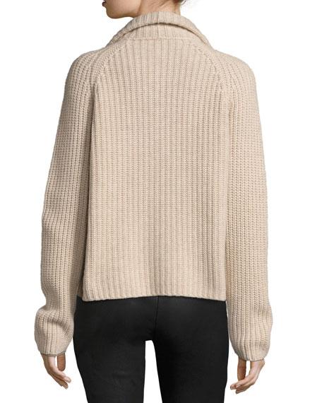 Cashmere Zip-Front Cardigan, Beige