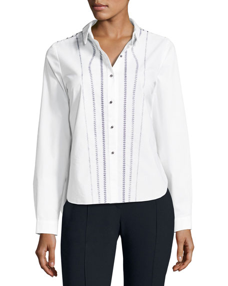 Joyce Embroidered Button-Front Blouse, White