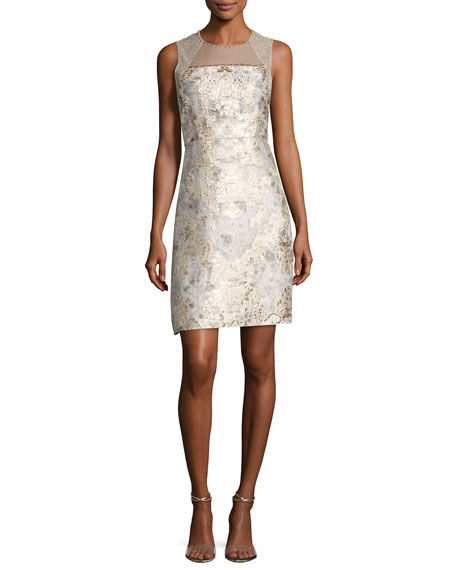 Elie Tahari Vera Sleeveless Floral Brocade Cocktail Dress,