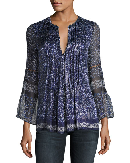 Elie Tahari Orion Bell-Sleeve Floral-Print Blouse, Blue