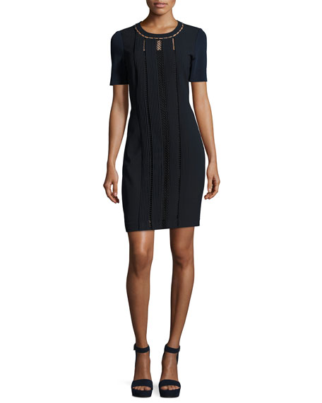 Elie Tahari Marion Short-Sleeve Paneled Sheath Dress