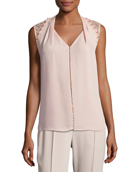 Elie Tahari Barbara Lace-Trim Silk Blouse w/ Pearly