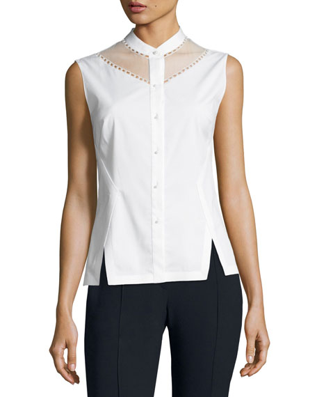 Elie Tahari Josephine Sleeveless Blouse w/ Sheer Yoke