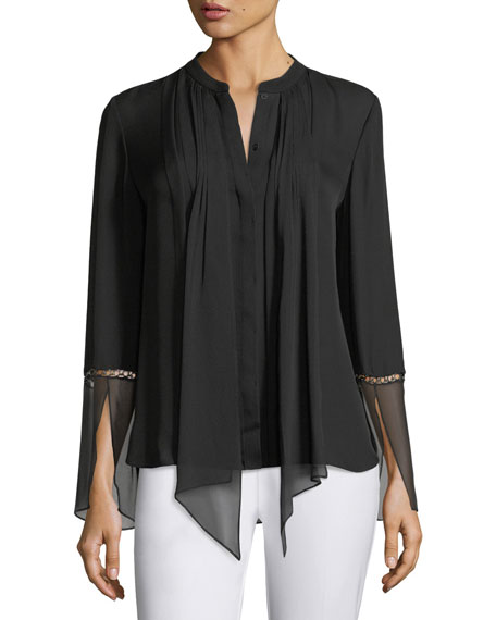 Nicola Long-Sleeve Pleated Button-Front Chiffon Blouse