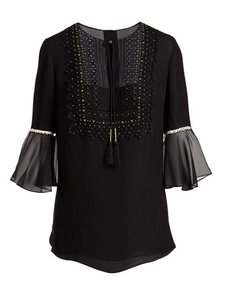 Charlie 3/4-Sleeve Embellished Silk Blouse